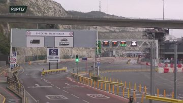 View of Dover port in UK day after Brexit transition period ends